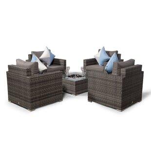 Villatoro Grey Rattan 4 X Armchairs With Square Ice Bucket Coffee Table, Outdoor Patio Garden Furniture By Sol 72 Outdoor