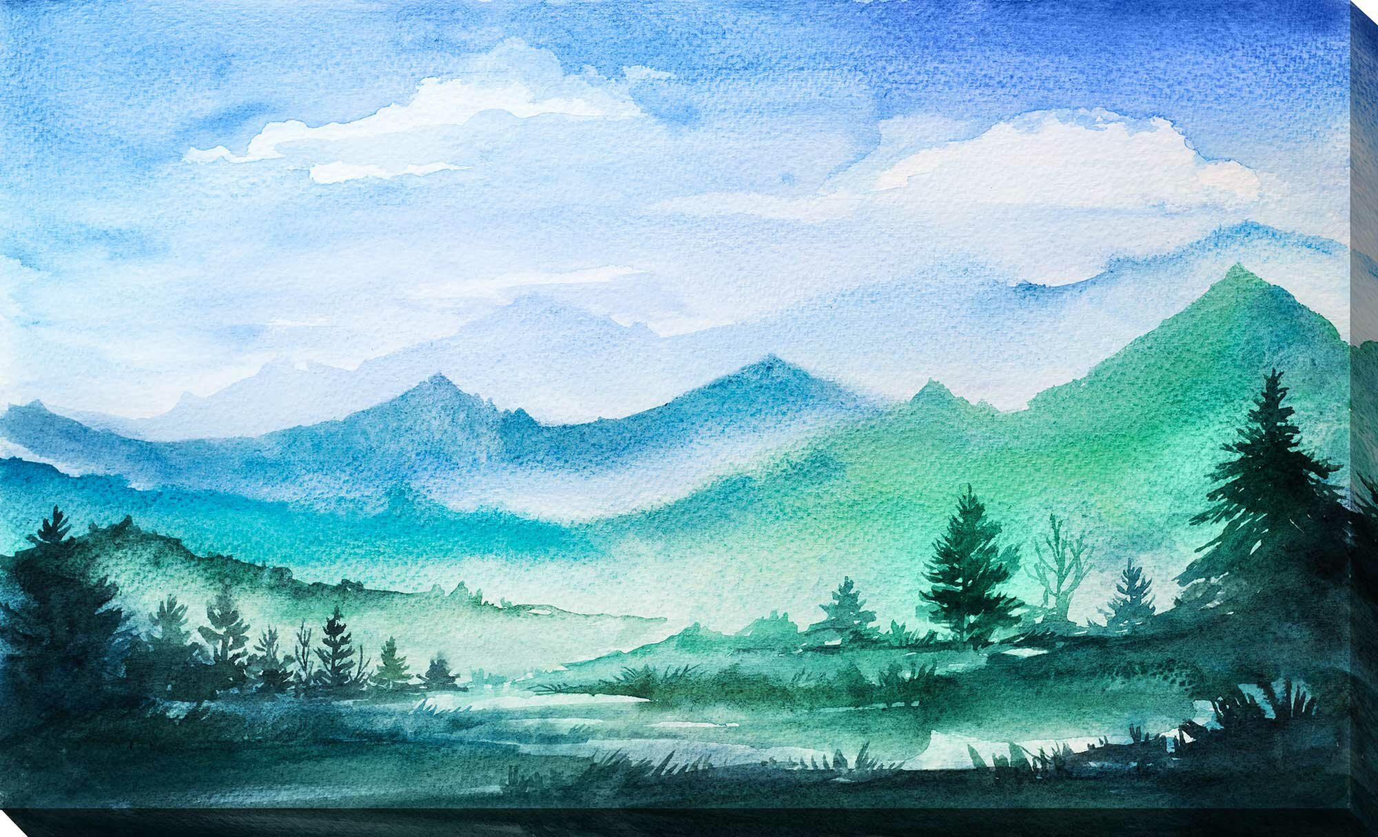 Millwood Pines Painted Rocky Mountains Acrylic Painting Print On Wrapped Canvas Reviews Wayfair
