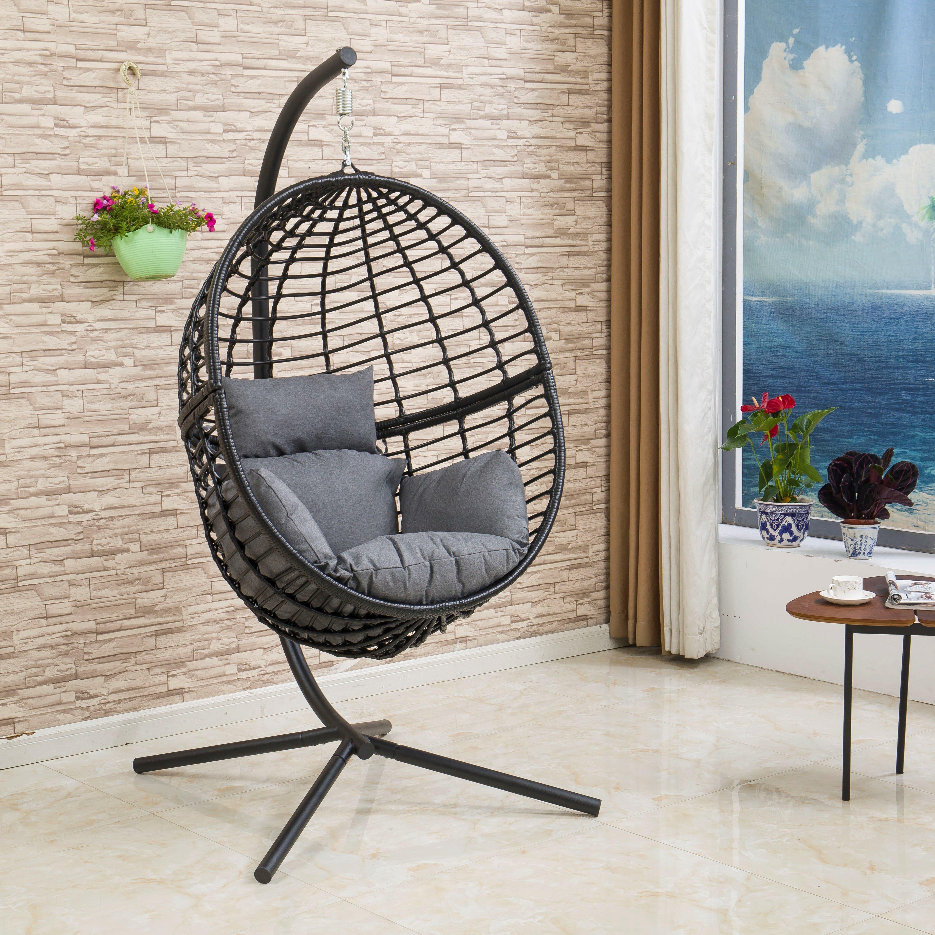 Brayden Studio Tinnin Eggplant Swing Chair With Stand Reviews