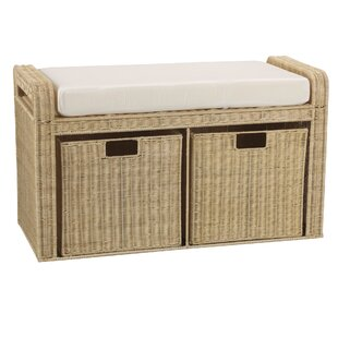 Household Essentials Rattan Natural Storage Bench