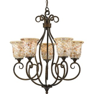 Beachcrest Home Frangipani 5-Light Shaded Chandelier