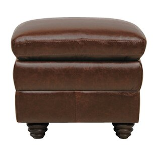 Halligan Leather Ottoman by Alcott Hill