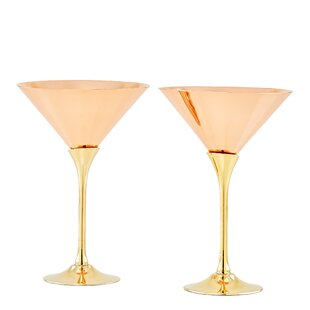 Solid Copper Brass Stem 6 oz. Martini Glass (Set of 2)