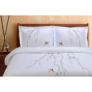 impressions 3 piece embroidered reversible duvet cover set