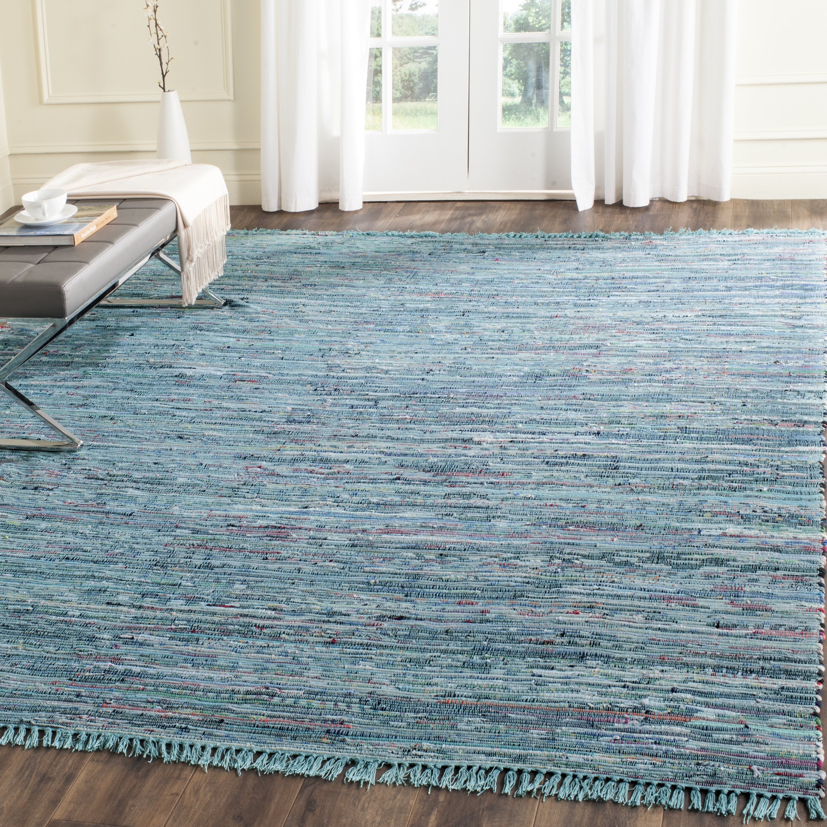 Beachcrest Home Inkom Hand-Woven Cotton Blue Area Rug & Reviews ...