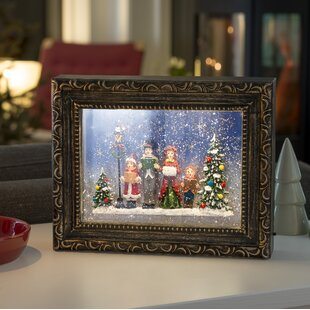 2 Warm White LED Snow Lantern Picture Frame With Choir Scene Lamp By Konstsmide