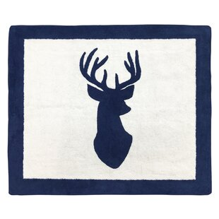 Best Woodland Deer Hand-Tufted Navy/White Area Rug By Sweet Jojo Designs