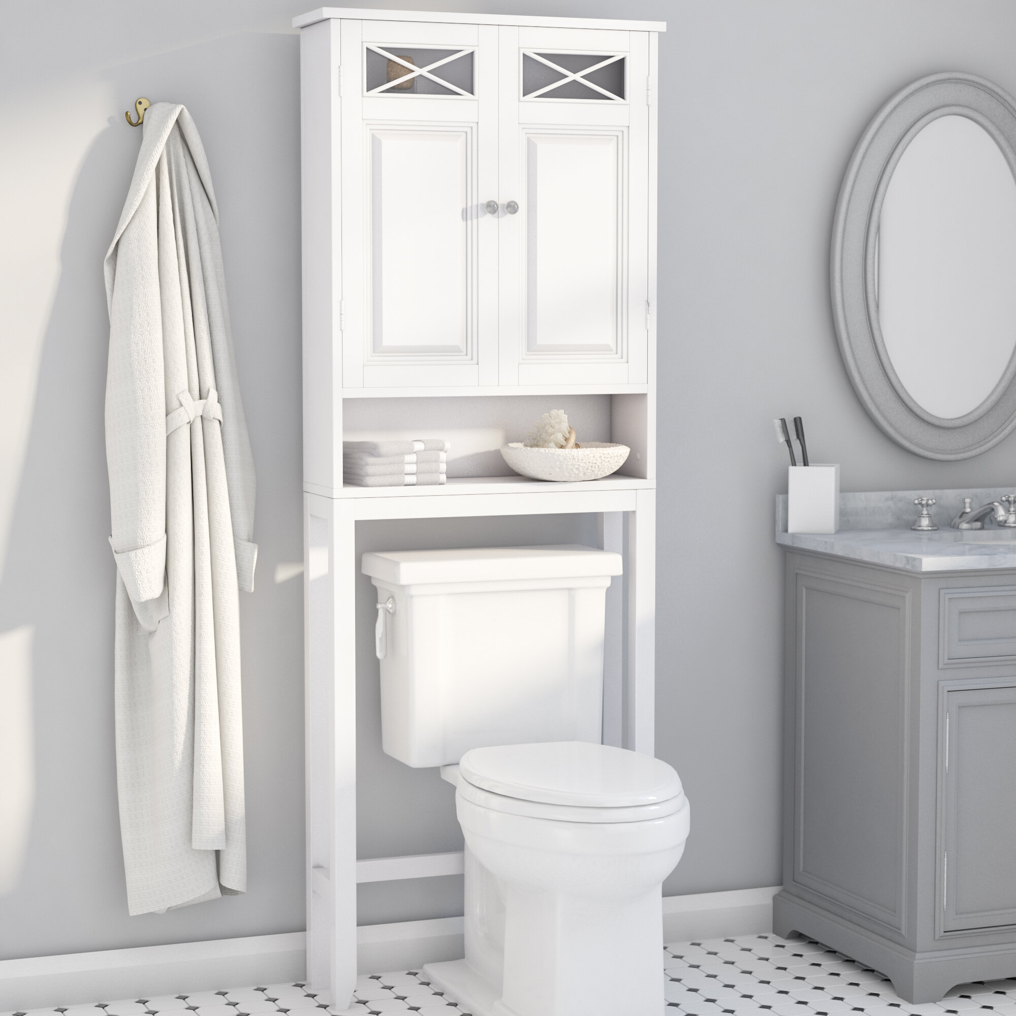 Rosecliff Heights Roberts 25 W X 68 25 Hx 8 D Free Standing Over The Toilet Storage Reviews Wayfair