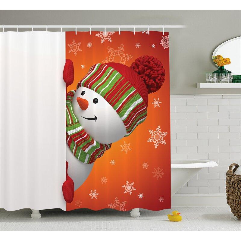 Christmas Funny Snowman Santa Shower Curtain