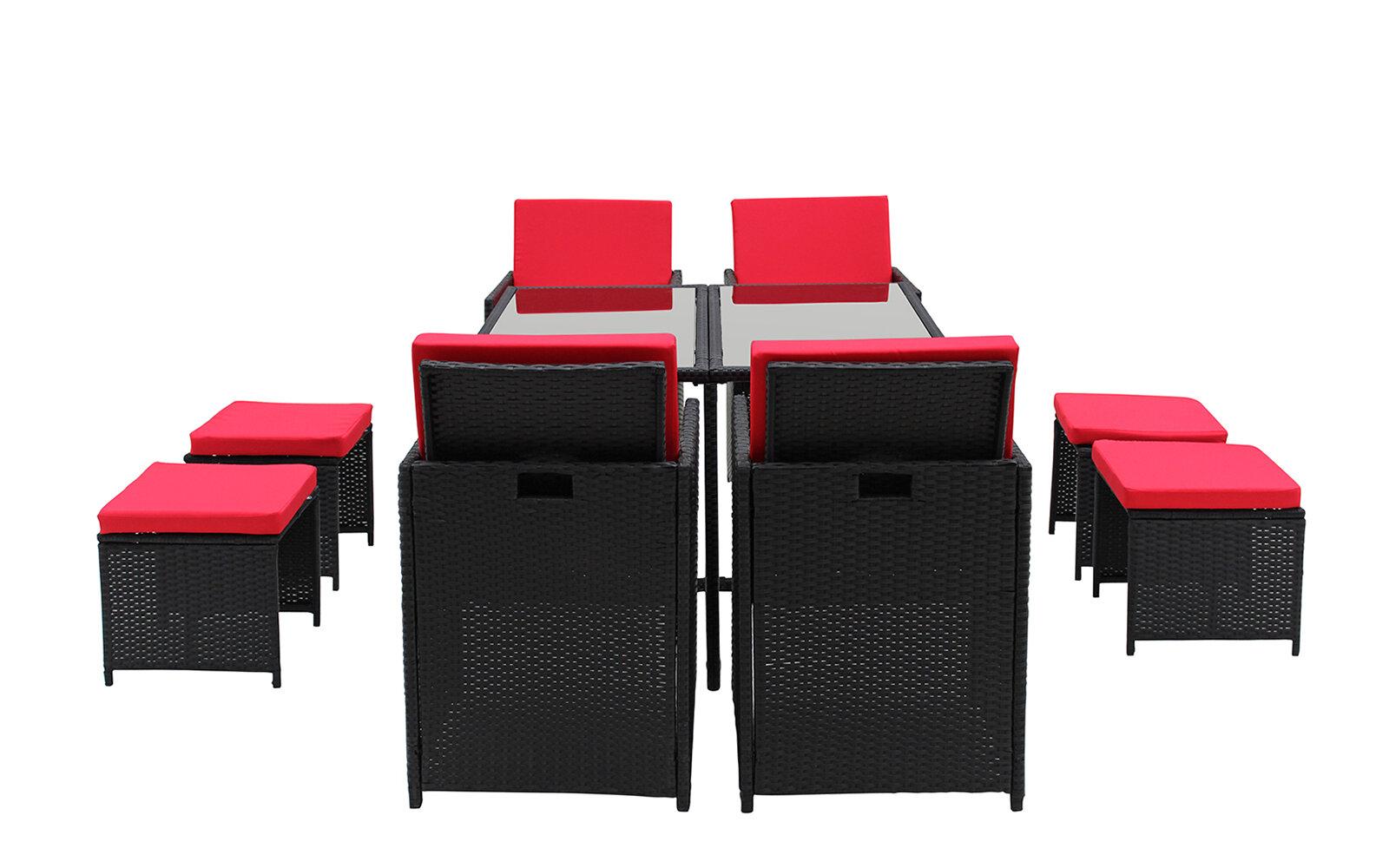 Ivy Bronx Cauley Space Saving Outdoor Furniture Rattan Patio 8 Piece Dining  Set U0026 Reviews | Wayfair