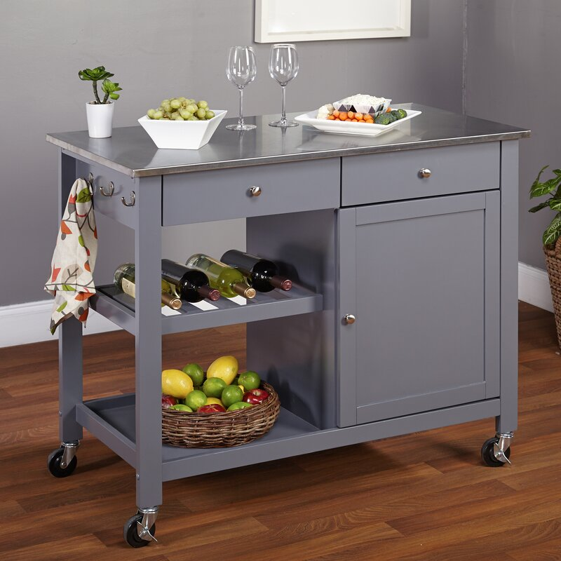 tms columbus kitchen island with stainless steel top reviews