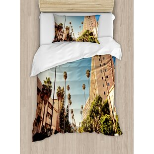 East Urban Home Urban a Street in Beverly Hills California Palm Trees Houses Famous City Photo Duvet Set