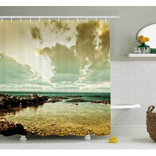 Wilda Landscape Island Scenery Near Ocean Sea With Clouds Puddle Stones Gloomy Air Photo Single Shower Curtain