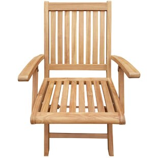 Highland Dunes Kristopher Folding Teak Patio Dining Chair (Set of 2)