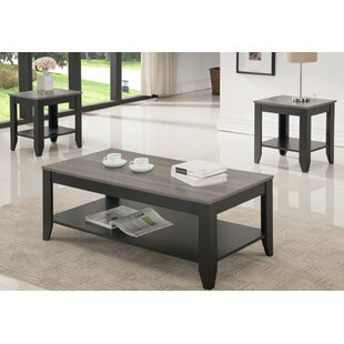 Hanriette Reclaimed Wood Look 3 Piece Coffee Table Set