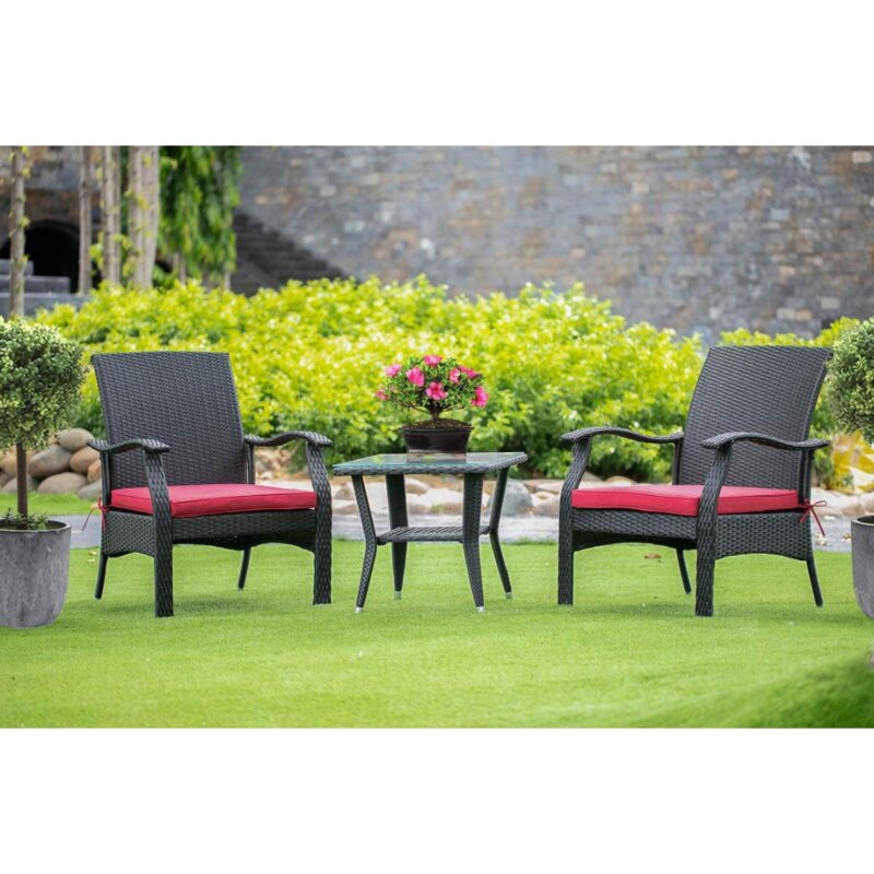 East West Furniture 3 Piece Dining Set with Cushions (Set of 3)