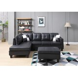 Albretsen 98 Wide Faux Leather Reversible Sofa & Chaise with Ottoman by Latitude Run®