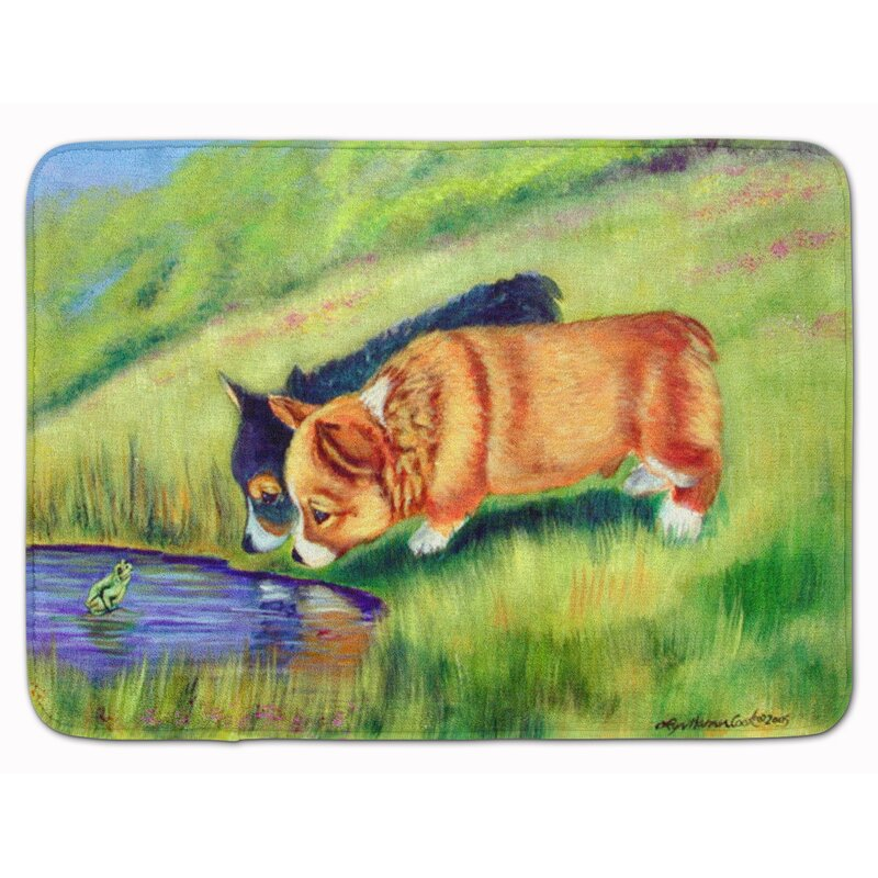 East Urban Home Corgi Rectangle Microfiber Non Slip Bath Rug Wayfair