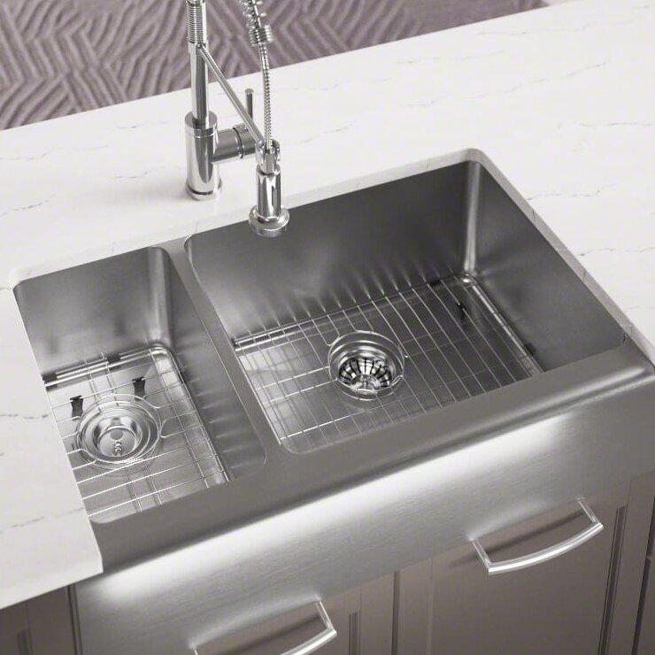 stainless steel 33   x 20   farmhouse apron undermount kitchen sink mrdirect stainless steel 33   x 20   farmhouse apron undermount      rh   wayfair com