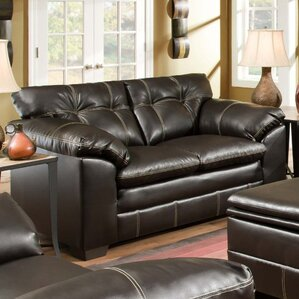 Merriwood Leather Loveseat by Simmons Upholstery by Alcott Hill
