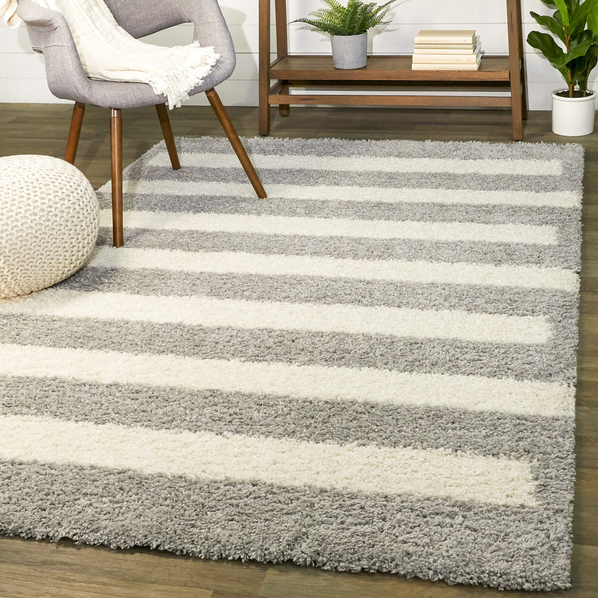 Wrought Studio Alishba Power Loom Gray White Rug Wayfair