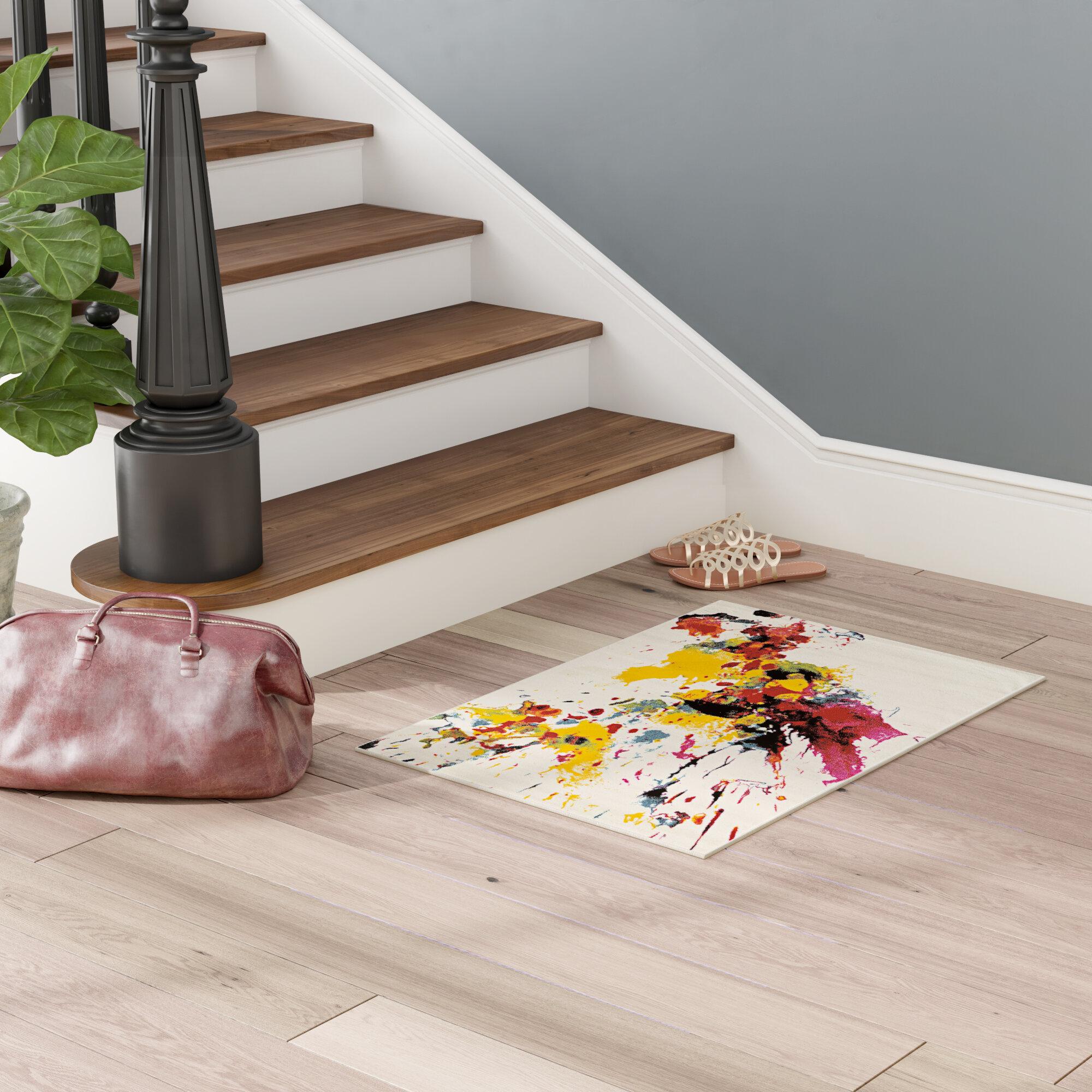 Wrought Studio Lindie Abstract White Area Rug Reviews Wayfair