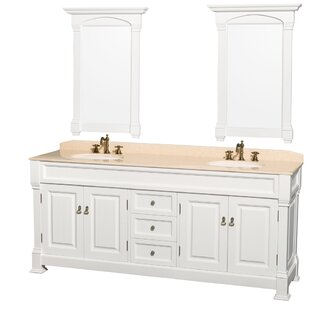 Andover 80 Double White Bathroom Vanity Set with Mirror