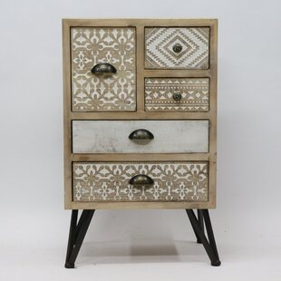 Phair Metal and Wood 5 Drawer Accent Chest by World Menagerie