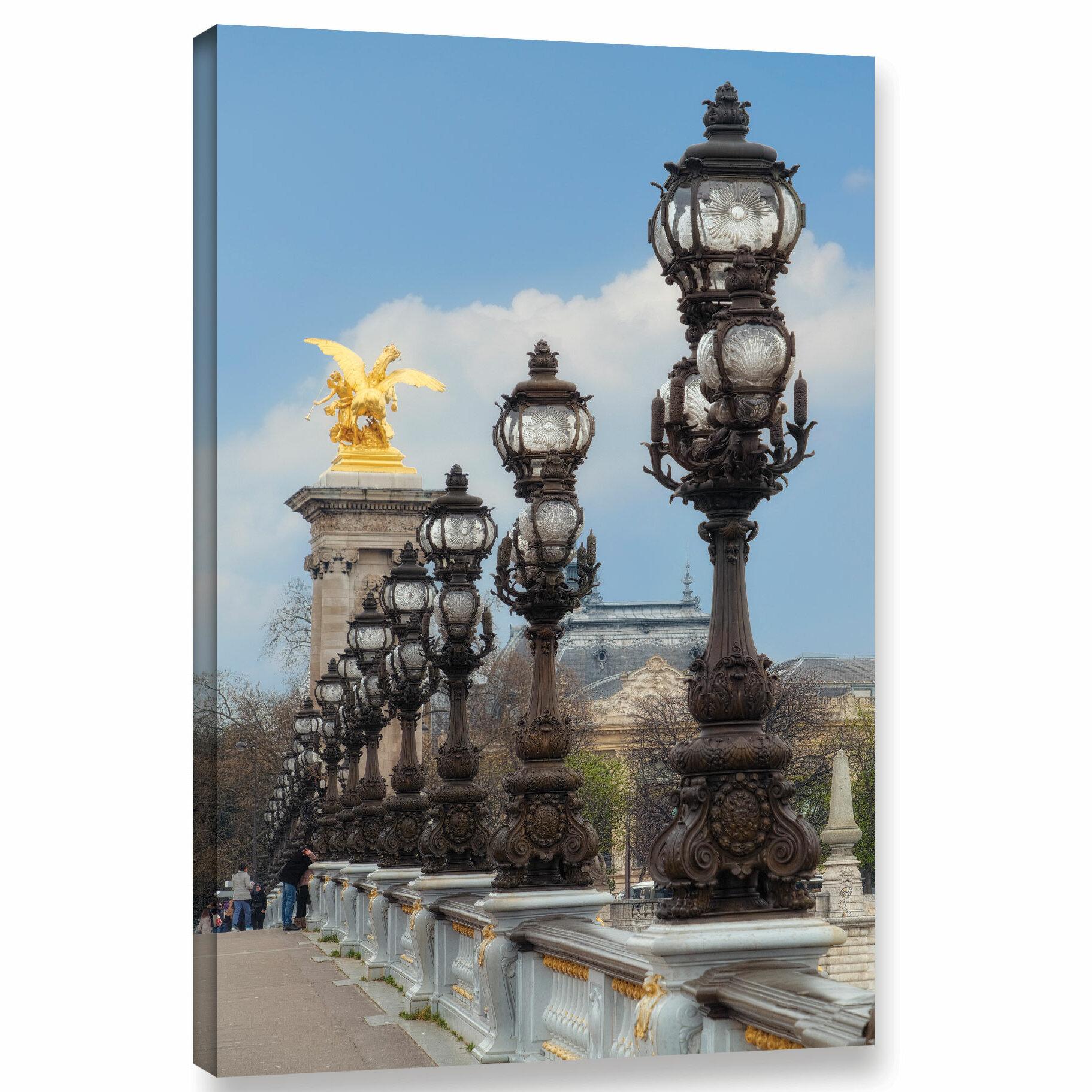 Ebern Designs Les Lampadaires Du Pont Alexandre Iii Photographic Print On Wrapped Canvas Wayfair
