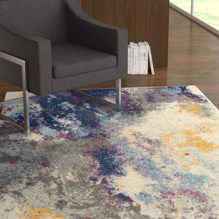 Abstract Blue Yellow Gray Area Rug
