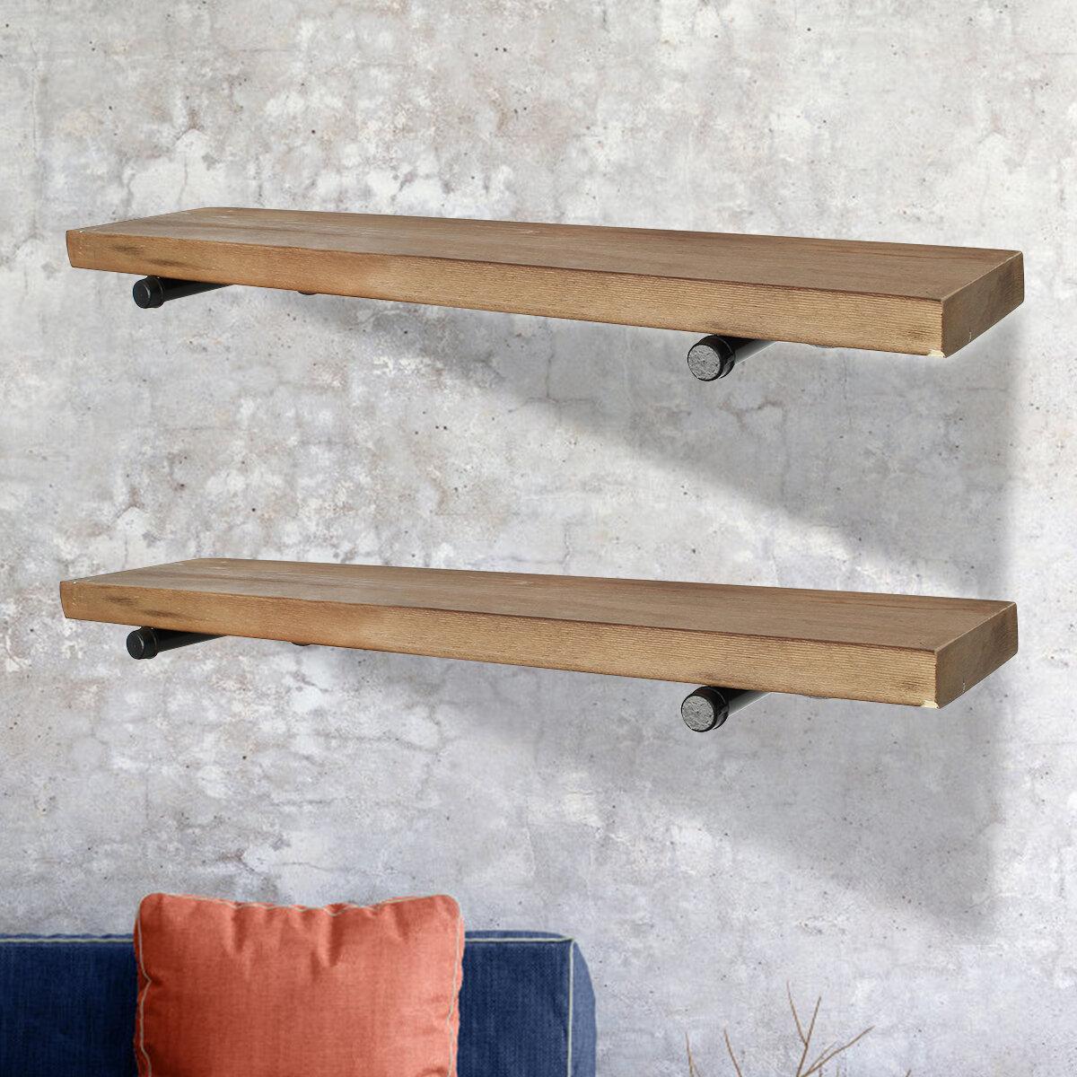 Gracie Oaks Roldan 2 Piece Pine Solid Wood Floating Shelf With Live Edge Wayfair
