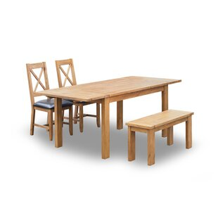 Gunner Extendable Dining Set with 2 Chairs and one Bench by Brick & Barrow