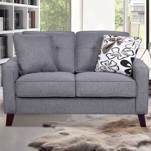 Lilliana Linen Tufted Loveseat by Mistana