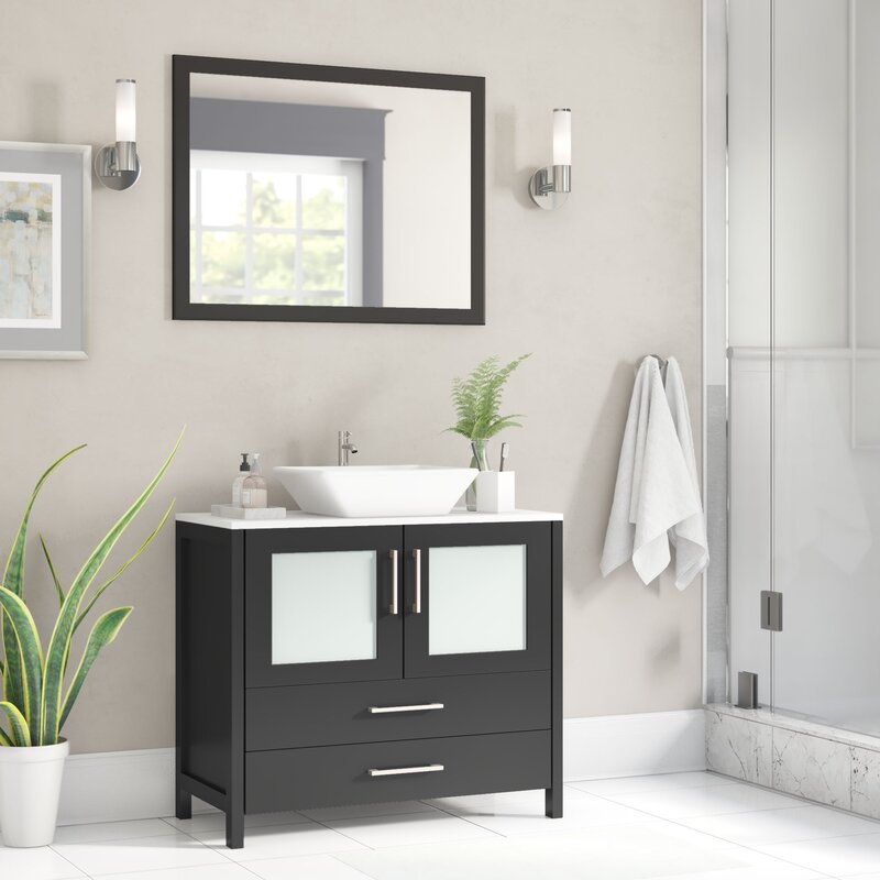 Wade Logan Karson 36 Single Bathroom Vanity Set With Mirror Reviews Wayfair