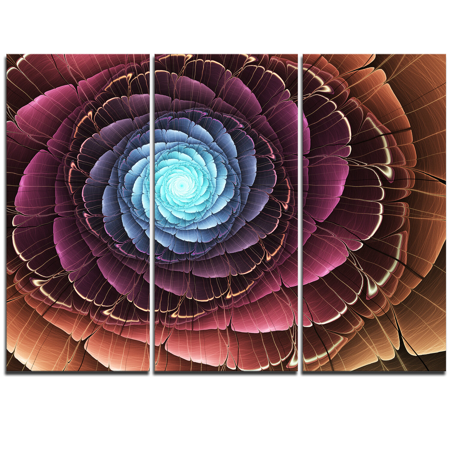 Designart Fractal Flower Pink Brown 3 Piece Graphic Art On Wrapped Canvas Set Wayfair