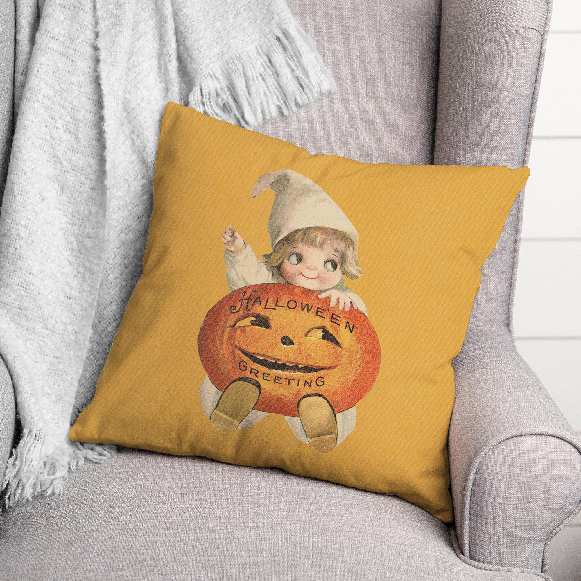 The Holiday Aisle Delwyn Halloween Pumpkin Child Throw Pillow Wayfair