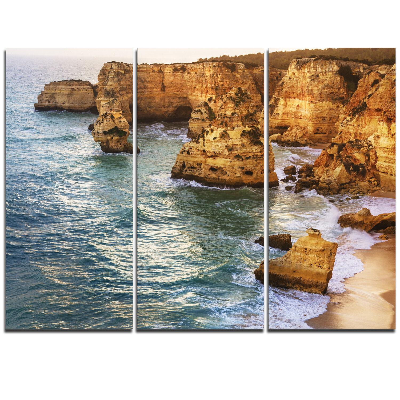Designart Golden Rocks And Beach At Algarve 3 Piece Photographic Print On Wrapped Canvas Set Wayfair
