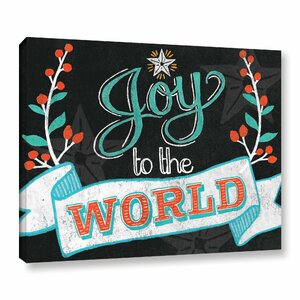 Joy to the World Black Textual Art on Wrapped Canvas
