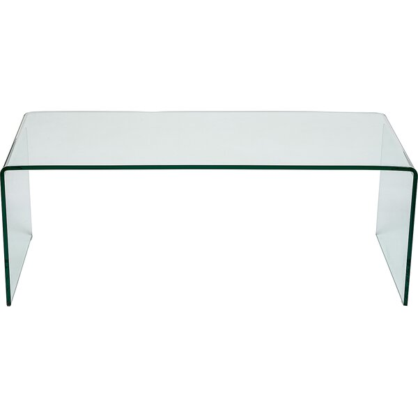 Wayfair Glass Coffee Table Uk: Hokku Designs Curved Clear Glass Coffee Table & Reviews