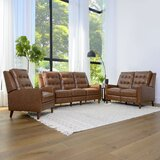 Idris Mid Century 3 Piece Leather Reclining Living Room Set by Foundstone™