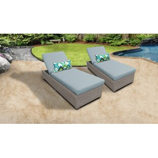 Meeks Outdoor Chaise Lounge with Cushion (Set of 2)