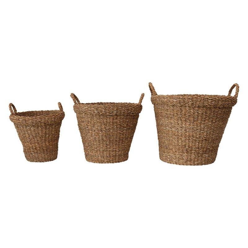 The Grey Antler 3 Piece Seagrass Basket Set Wayfair