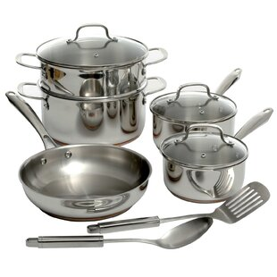 Lexie 10 Piece Stainless Steel Cookware Set with Lid
