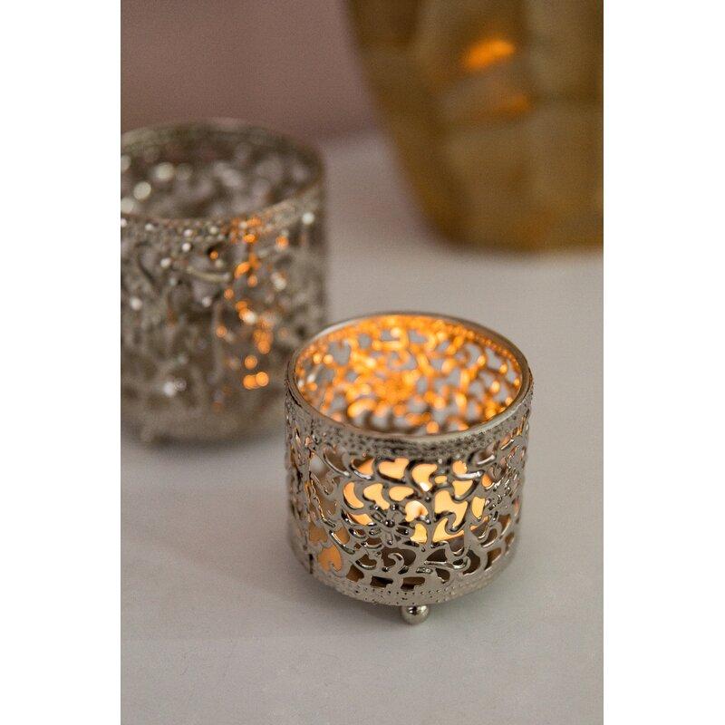 3pce Glass Ball Tealight Holders 6cm Table Decor