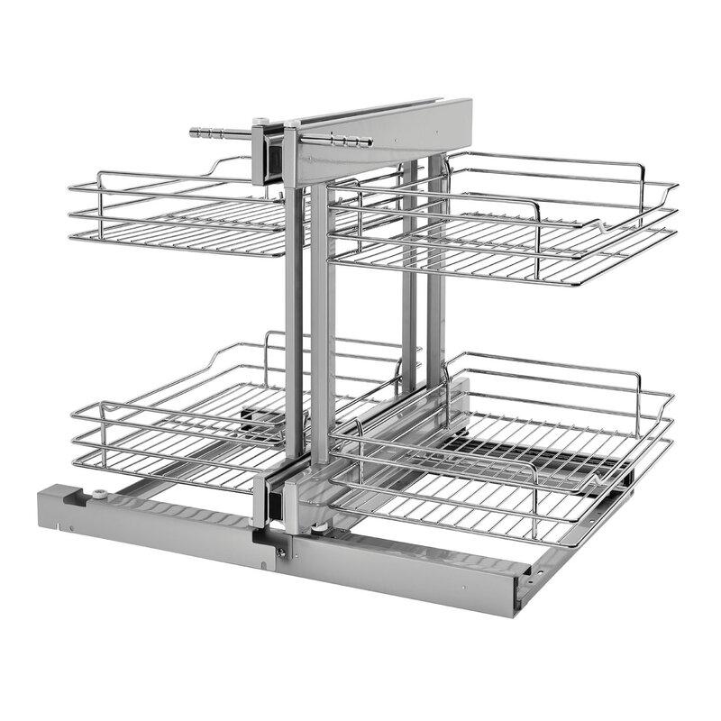 rev a shelf blind corner cabinet pull out chrome 2 tier basket rh wayfair com Pull Out Blind Corner Kit Pull Out Shelf Blind Corner Cabinet