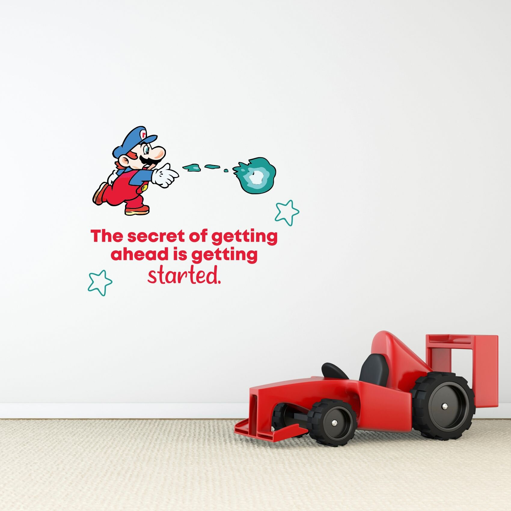 Design With Vinyl Getting Started Mario Life Cartoon Quotes Wall Decal Wayfair