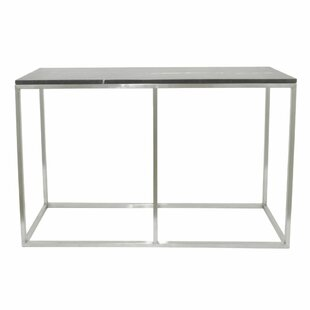 Latitude Run Cases Metal Marble Top Console Table