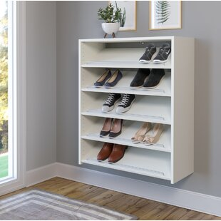 Reviews Wall Mounted 15-Pair Shoe Rack ByEasy Track
