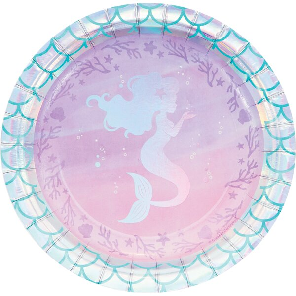Mermaid Party Supplies Shimmering Clamshell Plates and Mermaid Scales Napkins Serves 16