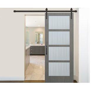 Prefinished 4 Lite Driftwood Solid Gl Wood Interior Barn Door
